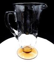 "FENTON ART GLASS RARE #5093 CLEAR 48 OZ OPTIC LOOP AMBER FOOTED 9 3/4"" JUG 1931"