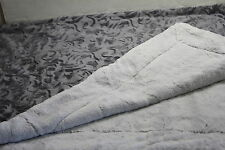 "Dennis Basso 50""x60"" Royal Ivy Reversible Sheared Mink Throw Platinum/Grey L$66"