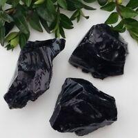 10-70MM Rare Rough Natural Black Obsidian Tumbled Gemstone Healing Crystal Stone