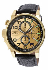 InvictA 14475 I-Force Yellow Gold  BLACK  Leather strap NEW