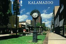 Downtown Kalamazoo Michigan, Burdick Street Mall, Large City St. Clock, Postcard