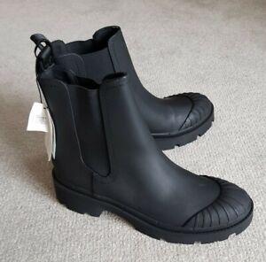 Zara Black Rubberised Track Sole Flat Ankle Boots UK7/EU40 BNWT