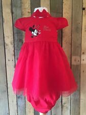 New Minnie Mouse Red Baby Girl Dress, Knickers & Headband Set Age 6-9 Months