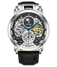 Stuhrling 906 автоматический 47 мм скелет двойного времени AM/PM мужские кожаные часы
