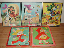 LOT OF 5 1960 WHITMAN FRAME TRAY PUZZLES: QUICKDRAW MCGRAW, DONALD DUCK, ETC.