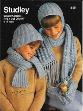 Studley 1159 Vintage Knitting Patterns Boys/Girls Hats Scarfs Gloves 4-14 years