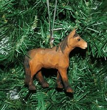Hand Carved Wooden Horse Christmas Ornament