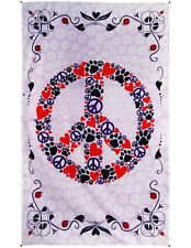 Peace Love Paws Peace Sign Ladybug Tapestry Wall Art Curtain Cat Dog Lover Decor