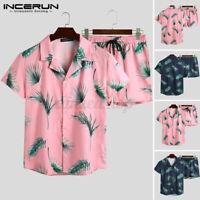 INCERUN Men's Hawaiian Beach Suit Printed Short Suit Party Fancy Hippie Chic Set