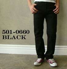 New Levi's Mens 501 0660 Straight Leg Button Fly Black Denim Jeans Size 36 x 32