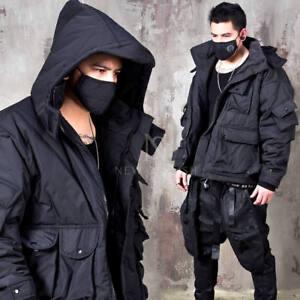 NewStylish mens fashion Multiple pocket hooded techwear parka