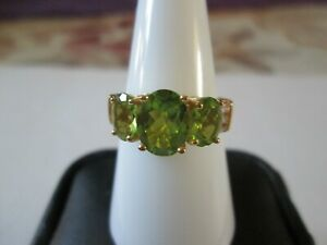 Peridot Yellow Gold over Sterling Silver Ring (Size 8) TGW 3.85 cts.