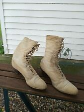 Antique Victorian Women'S High Boots Canvas Leather