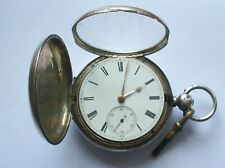 ANTIQUE SOLID SILVER FUSEE FULL HUNTER POCKET WATCH WORKING BIRMINGHAM 1876