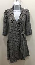 Laundry By Shelli Segal Wrap Dress Size XS Black White 3/4 Sleeve Stretchy