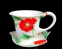 "FRANZ PORCELAIN FZ00523 RED POPPY DORIS TENG SIGNED 2 7/8"" CUP & SAUCER 2006"