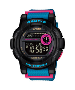 Casio 3429 Baby-G Protection Shock Resistant Women's Blue Pink Watch Wristwatch