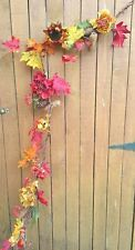 5' Fall Garland Peonies Orange Sunflowers Leaves Pinecone use as Wreath also