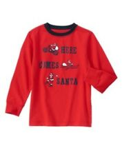 GYMBOREE HOLIDAY SHOP RED w/ Hre Comes Santa L/S TEE 5 6 NWT