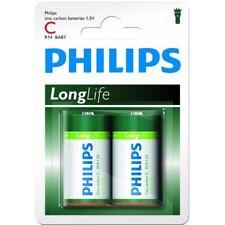 12 piles (6 blisters) Philips LongLife zinc carbone C / R14 (LR14)
