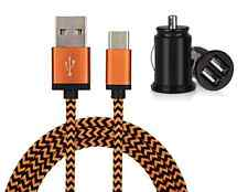 Fabric Braided USB-C USB Type C Data Cable + Twin Port In Car Charger