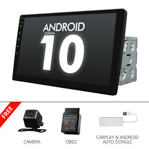 """CAM+OBD+CarPlay+ 10.1"""" Car GPS Android 10 Stereo Radio Double 2DIN Universal IPS"""
