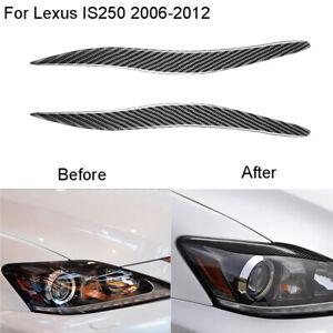 2Pcs Carbon Fiber Headlight Eyebrow Trim Cover For Lexus IS250 IS300 2006-2012