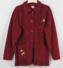 Disney Store Winnie The Pooh Red Fleece Womens Jacket Coat Fringe Large