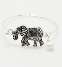 Silver Faux Pearl Abalone Colored Elephant FASHION Bracelet