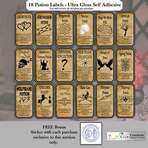 36 Potion Labels Witch Spells Potions Print ONLY Halloween Sticker #CLEARANCE#
