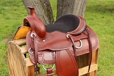 "15"" CLASSIC WESTERN LEATHER COWBOY HORSE PLEASURE TRAIL RANCH WORK SADDLE TACK"
