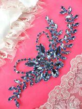 """Crystal Rhinestone Applique Light Ice Blue Embellishment Silver 7.5"""" (XR119-lbl)"""