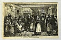 1876 magazine engraving ~ CHRISTMAS TREE IN SWEDEN Jul Buske