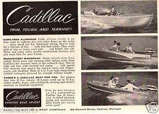 Vintage 1957 Small Size Print AD Cadillac Aluminium Mahogany Boat