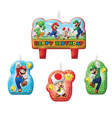 4 Piece Super Mario Bros Gaming Birthday Party Cake Decoration Candles