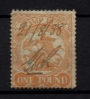 Victoria State 1884 £1 orange Revenue SG262A fine used P12.5 WS22263