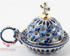 Handmade Porcelain Censer church incense burner Thurible souvenir Gzhel gold