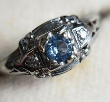 Antique Estate Belais 18k White Gold Aquamarine & Diamond Ring Amazing Filigree