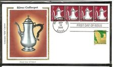 US SC # 3759 Silver Coffeepot FDC. Colorano Silk Cachet.