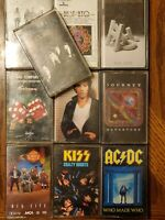70's 80's Rock Cassette Lot Of 10 Van Halen AC/DC BTO Kiss Journey Big Hair Band