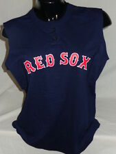 BOSTON RED SOX LADIES MLB SLEEVELESS HENLEY BASEBALL JERSEY SHIRT TEE WOMENS