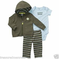 Carter's Pants, Body Suit & Hooded Cardigan Set ~ Mommy's Little Guy ~ Newborn