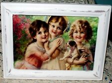 SHABBY VINTAGE WOOD FRAME CHIC VICTORIAN GIRLS PUPPY PRINT FRENCH COTTAGE DECOR