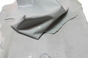 Lambskin leather hide hides skin skins VTG GREY PATENT CROCODILE PRINT 6+sqf