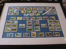 Disney Anguilla Grenada Stamp Lot Of 59 Framed