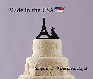 Eiffel Tower with bride and groom Cake Topper - LT1076