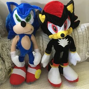 "Sonic the Hedgehog & Shadow Plush Soft Toys ""Toy Network"" 45cm Floppee Rare!"