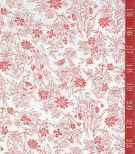 "VINTAGE linen Bright red floral on white  FABRIC 44""W ByThe 1/2 Yard"