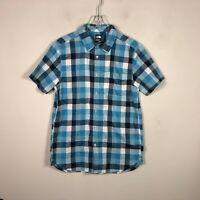 The North Face Button Front Shirt Plaid Blue Men's M Short Sleeve Shirt EUC
