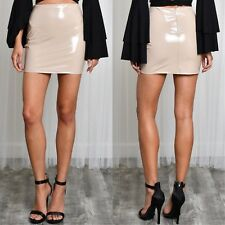 Patent Shiny Nude Mini Skirt High Waist S M L Latex Looking Wet Look Club Sexy